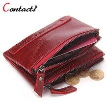 CONTACT'S Men Wallet Women Purses Genuine Leather Wallets Women Small Clutches Card Holder Female Money Bag Men Wallet Women Red