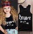 Bebê Encabeça Crianças Colete Meninos Verão Camisetas Meninas Tanque 2016 Moda Impresso T-shirt T-Shirt Da Criança Crianças Roupas de verão básico