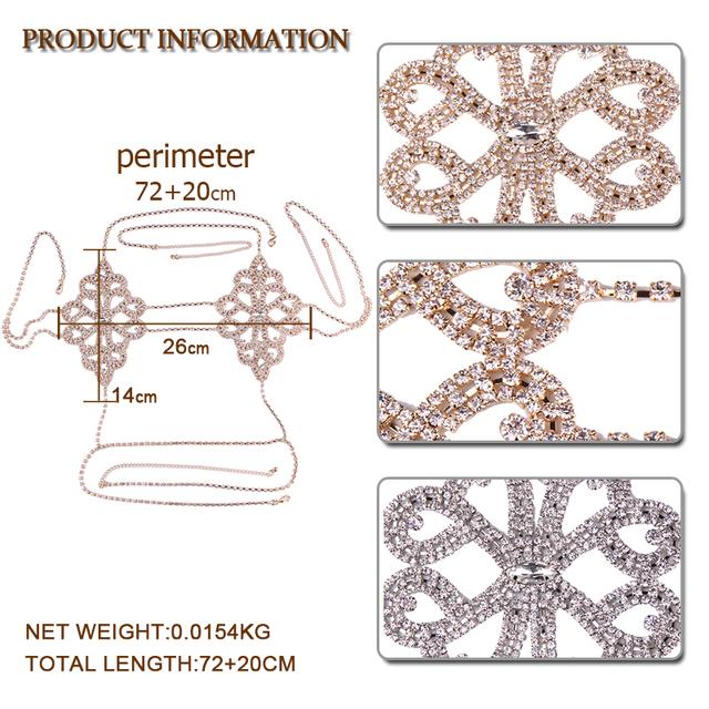 Best lady 2017 Fashion Statement Jewelry Flowers Sexy Body Necklace Chain Bra Necklace Summer Boho Luxury Brassiere Women 5241