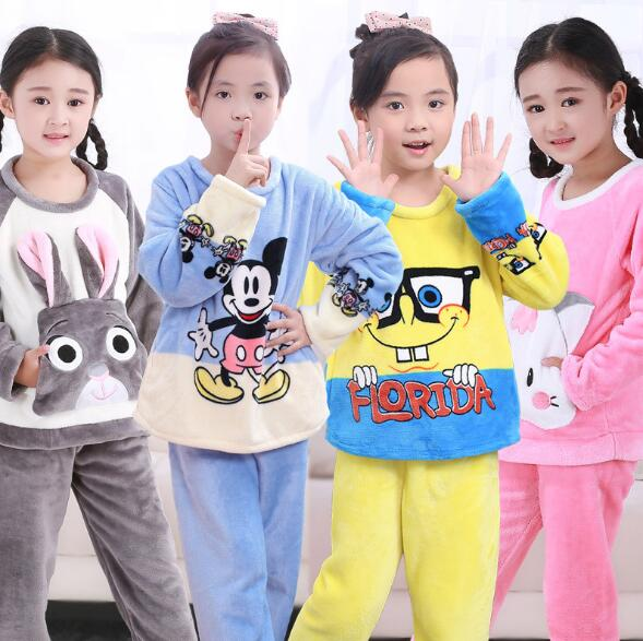 Pajamas Sets Flannel 2018 new girls Winter Nightie Baby cartoon Pyjamas for  children teen agers Sleepwear kids night suit set-in Pajama Sets from  Mother ... 5011d0f68