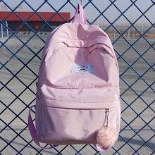 Женский рюкзак Preppy замшевые рюкзаки девочки школьные сумки Нейлоновый Рюкзак Женская дорожная сумка рюкзак розовый синий черный Mochila 2018