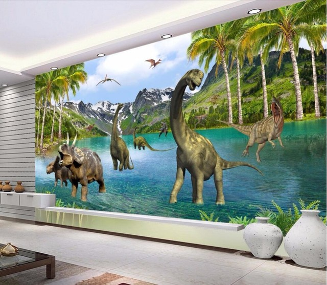 Beibehang Cubic Fresco Fantasy Age Dinosaur Living Room Sofa Bed Bedroom Flash Silver Wall Paper