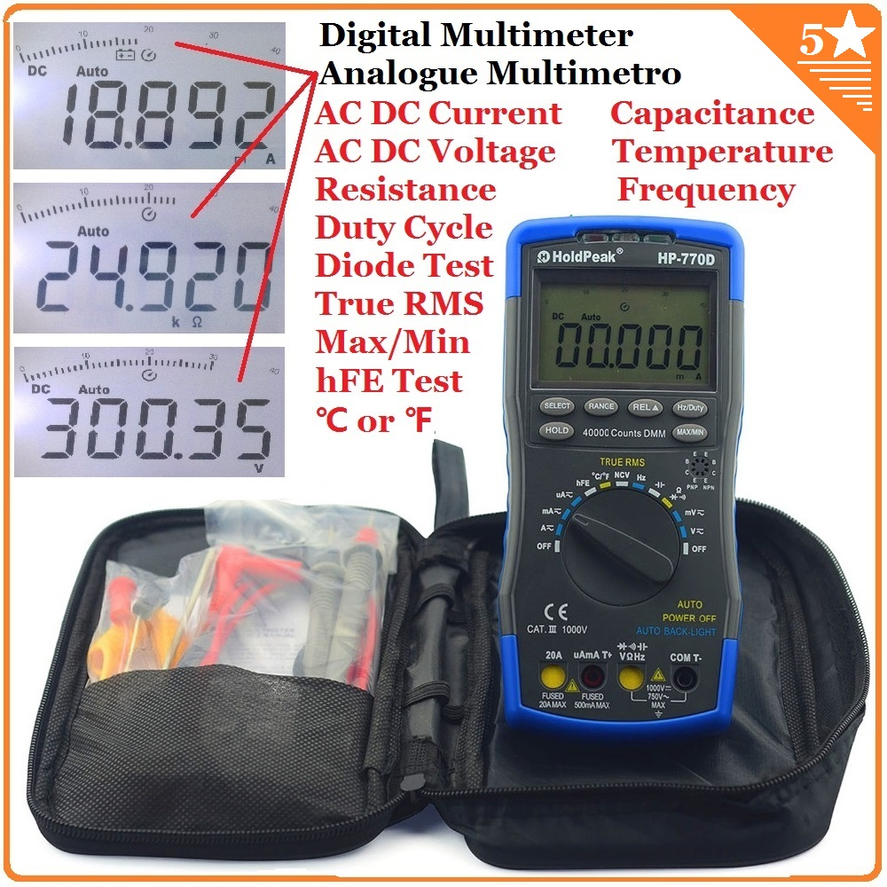 купить HoldPeak HP-770D Auto Range Digital Multimeter True RMS/ Frequency/ Temperature test and Carry Bag по цене 3831.66 рублей
