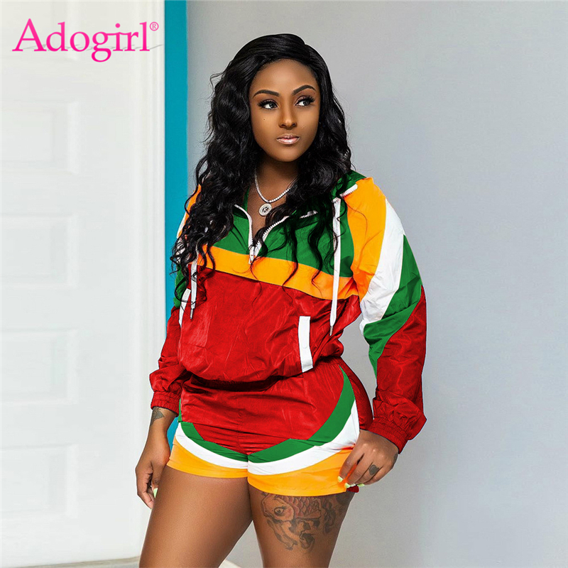 Adogirl Color Patchwork Casual Two Piece Set Women Tracksuit Zipper Turn Down Collar Long Sleeve Sweatshirt + Summer Shorts