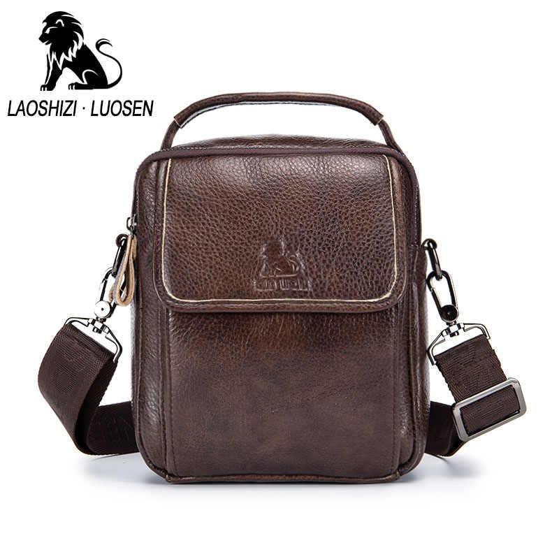 LAOSHIZI LUOSEN hombres bolsos de hombro de cuero genuino bolsos de cuero de vaca Vintage Casual hombres bandolera pequeño maletín marrón