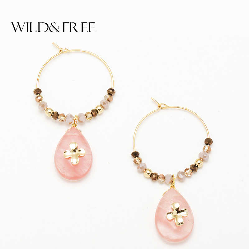 Wild&Free Women Fashion Natural Stone Hoop Earrings With Pink Waterdrop Stone Pendant Charming Hoops Beads Circle Flower Earring
