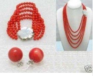 Charmant beau 6mm rouge corail perles collier Bracelet boucle d'oreille mode livraison gratuite