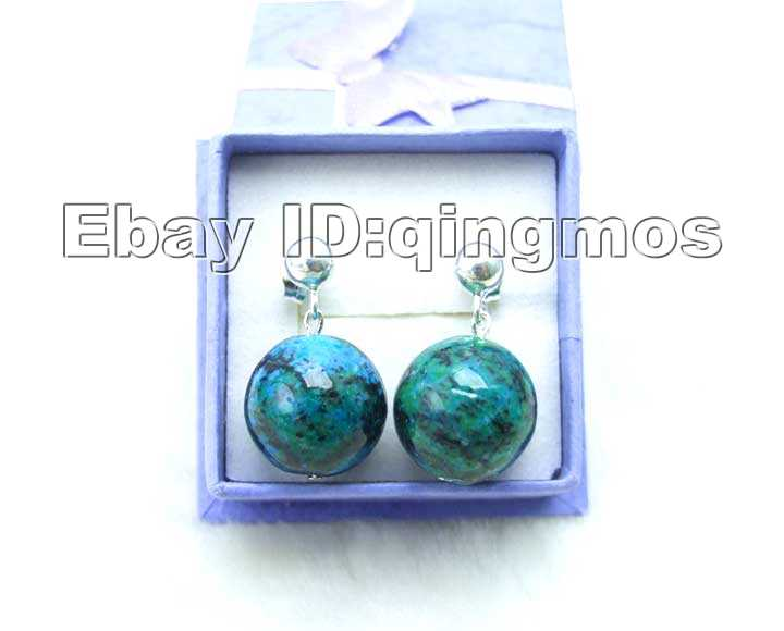 SALE Big 14mm Round Natural Malachite stud Earrings with Stering Silver 925 stud-ear205 Wholesale/retail