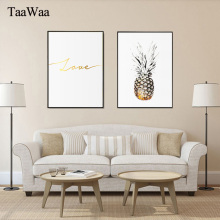Nordic Pineapple Poster Love Letter Wall Art Canvas Print Minimalist Painting Picture for Living Room Home Decorative