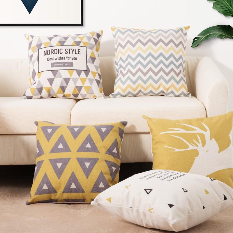 HTB1cEA8aoz1gK0jSZLeq6z9kVXaV Cushion 45*45Two side printed Soft Cotton linen blend Cartoon stripes tropical plants European style Pastoral