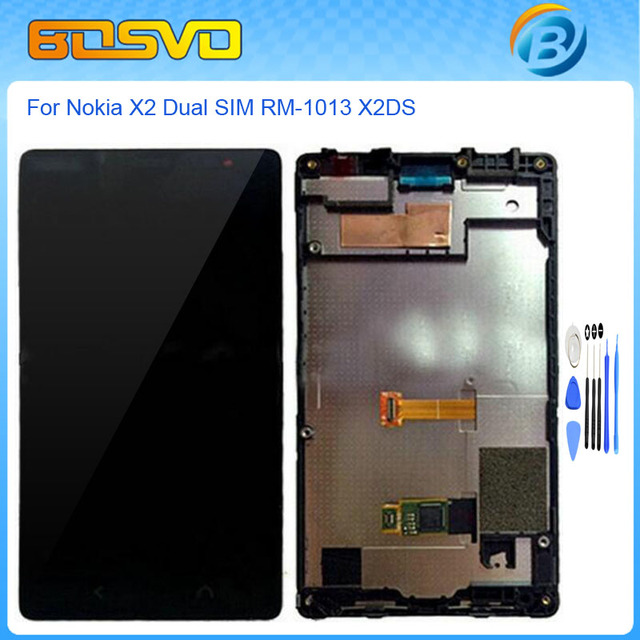 High quality Replacement for Nokia x2 Dual SIM RM-1013 X lcd display with touch screen digitizer with frame assembly+free tools