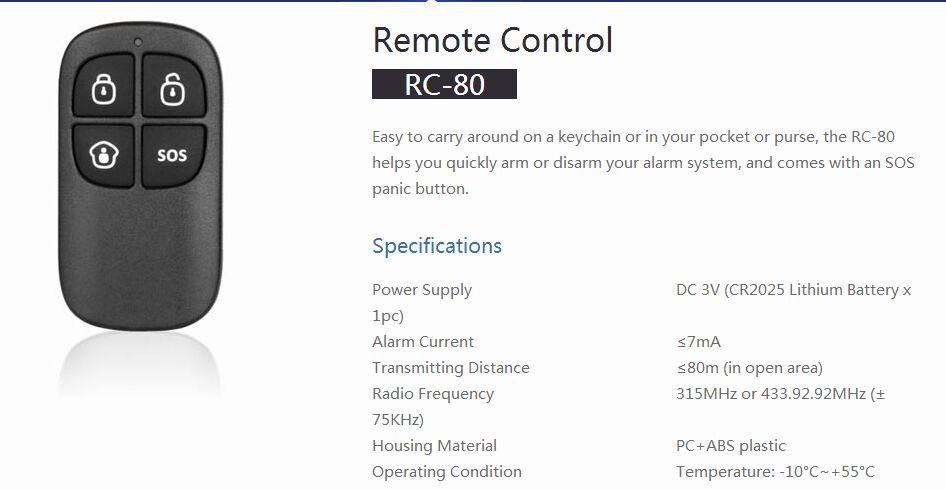 OWSOO Chuango RC-80 315MHz Control Remoto Inal/ámbrico con Llavero con 4 Botones Arm//Disarm//Home Arm//SOS para Sistema de Alarma Dom/ótica Inteligente