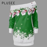 Plusee Shirt Size 2XL Women Christmas Slim Pullover Cotton Slash Neck Cartoon Color Block Backless Button