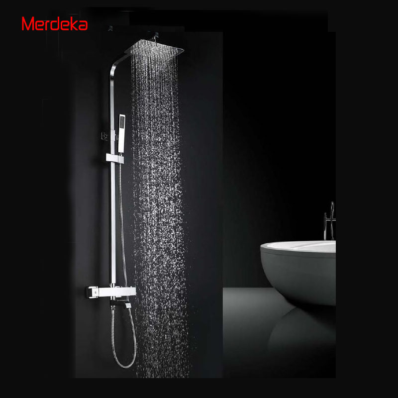 Chrome Shower Mixer Wall Mount chrome Solid brass 38 Thermostate Faucet Rainfall Shower  Set with 8 Shower head brass thermostatic mixer valve shower set mixer faucet two handle wall mount shower kit stainless steel 10 rainfall showerhead