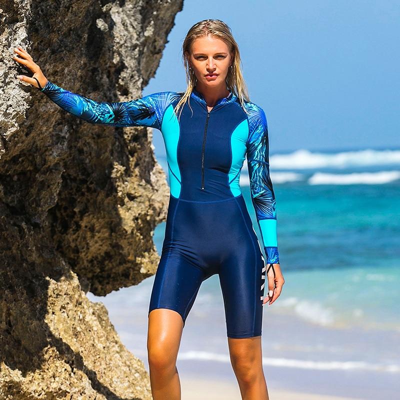 Sbart Summer Beach UPF 50+ Diving Wetsuit One Piece Long Sleeve Rash Guards women Vintage Swimwear Surf Suit Zip knee Plus size цена