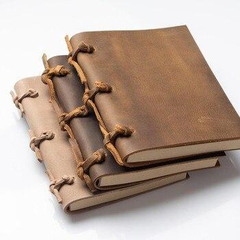 Rocznika Blank pamiętniki czasopisma notebook uwaga książki liny podróżnik grube prawdziwej skóry caderno espiral tygodniowy planner śmierć