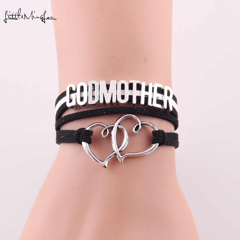Little Minglou Godmother bracelet double heart charm suede wrap Bracelets & Bangles for women jewelry family mother gifts