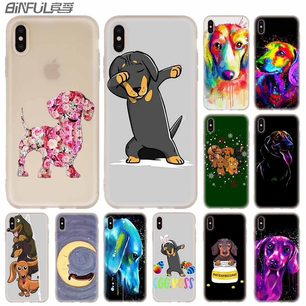 Phone <font><b>Cases</b></font> Silicone soft Cover for <font><b>iPhone</b></font> 11 Pro X XS Max XR <font><b>6</b></font> 6S 7 8 Plus 5 4S SE Dachshund Silhouette Dog coque etui <font><b>bumper</b></font> image