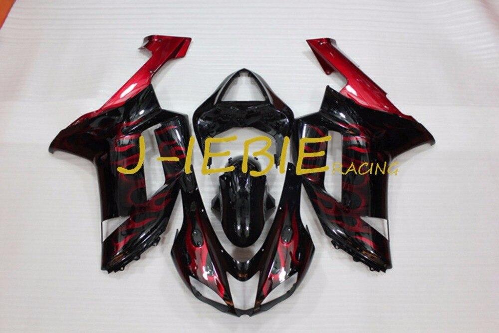 Black red fire Injection Fairing Body Work Frame Kit for Kawasaki NINJA ZX6R ZX6 ZX 6 R 2007 2008