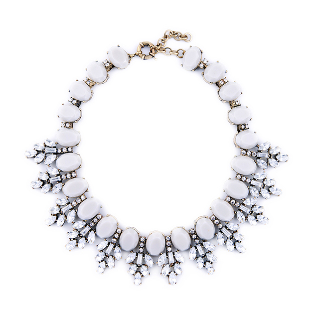 HOT SALE Fashion Gray Gem Crystal Collar Necklace Chunky Exquisite Rhinestone Wedding Choker Vintage Costume Accessories N0619