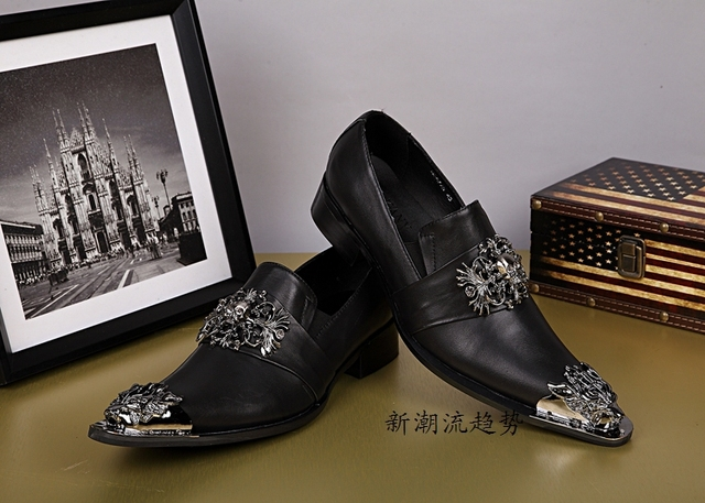 Black Skull Genuine Leather Men Oxford Shoes Slip On Men Dress Shoes Gold  Metal Pointed Toe Men Shoes Party Wedding Men Oxfords d51afa90cba3