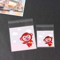 10x13cm Monkey Red Self-adhesive Biscuit bag, Cute Cookie bags, Small Cellophane Bags 500pcs
