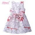 Мода Pettigirl Рукавов цельный Печати Девушки Летом Цветок Платье Младенческой Девушка Дешевые Розничная Одежда
