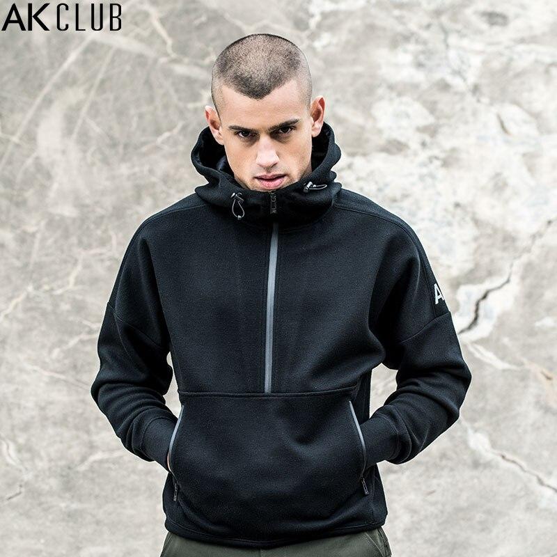 AK CLUB Men Sweatshirt Hoodie Zipper Half Fly Pullover Hooded Dropped Shoulder Sweatshirt Solid Hoodie Brand Sweatshirt 1805002 open shoulder solid hoodie