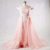 RSE296 Alta Qualità Vestido De festa De Casamento Plus Size Madrinha Al Largo Della Spalla Peach 2 Pezzo Prom Dresses Lungo