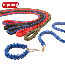 Hipidog Large Dog Woven Traction Rope Leash Collar Set Nylon Braided Heavy Duty Lead for Big Obedience Training