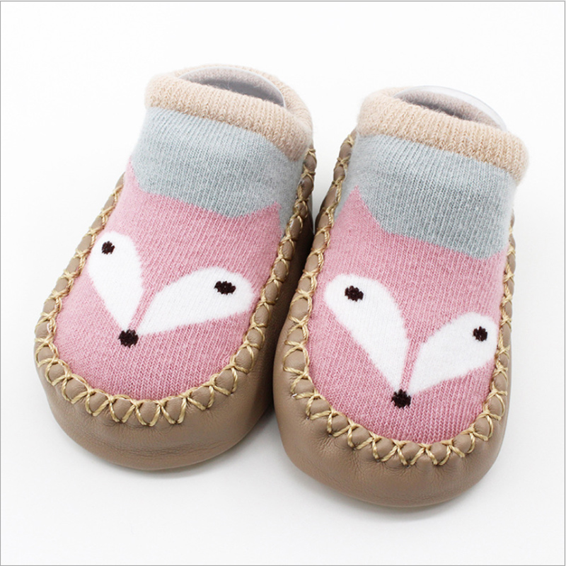 Newborn Baby Girl/Boy Cartoon Shoes Anti-slip Infant First Walkers Animal Fox Soft Sole Toddler Sock Shoes With Rubber Soles