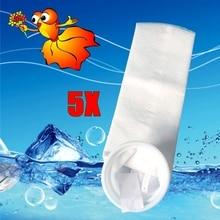 5 adet akvaryum keçe filtre çorap plastik halka ile balık tankı deniz örgü karter filtrasyon çanta yeni malzeme 150 200 mikron