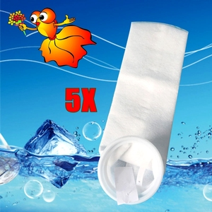 Image 1 - 5PCS Aquarium Felt Filter Sock with Plastic Ring Fish tank Marine Mesh Sump filtration Bags New material 150 200 Micron