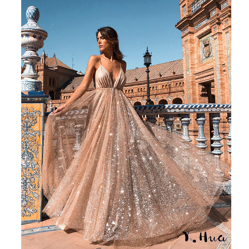 Y.Hua 2019 New Style V-neck   Evening     Dress   Vestido De Festa Formal Party   Dress   Luxury Long Lace Backless Prom Gowns