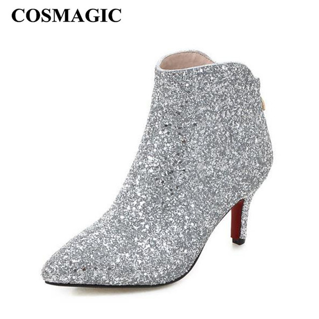 b52d4da97663 COSMAGIC 2018 New Women Bling Glitter Fashion Ankle Boots High Heel Zip  Solid Silver Wedding Short Botas Mujer Plus Size