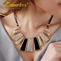 DIOMEDES Creative Fashion Design Beads Enamel Bib Leather Braided Rope Chain Necklace Accessories Sexy Chain