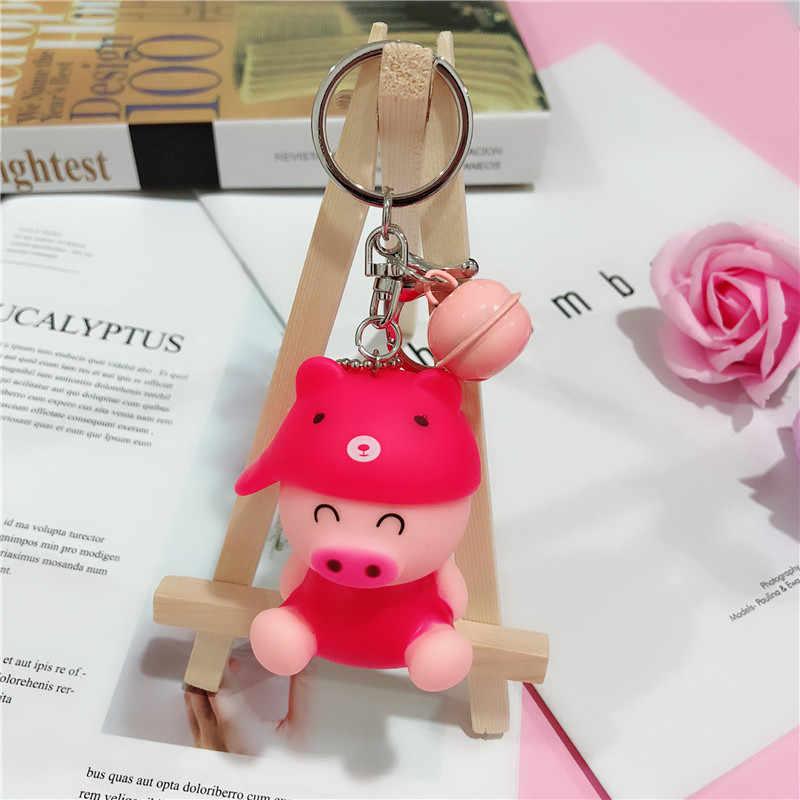 Moda Bonito Dos Desenhos Animados Porco Chaveiro de Couro Corda Chave Cadeias Anel Chave Animal Titular Saco de Pele para As Mulheres Menina Pingente A004