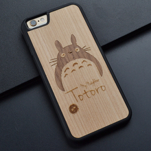 My Neighbor Totoro Phone Case For Iphone 6 s 7 8 plus X Cute Wooden Phone Cover for Huawei P10 Plus