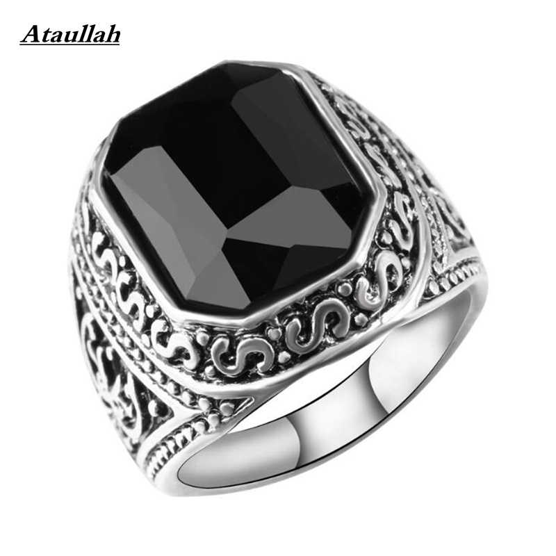 Ataullah Men Black Carnelian Semi-Precious Stone Signet Ring Silver Stainless Steel for Men Jewelry Anillos Accessories RWD7-115