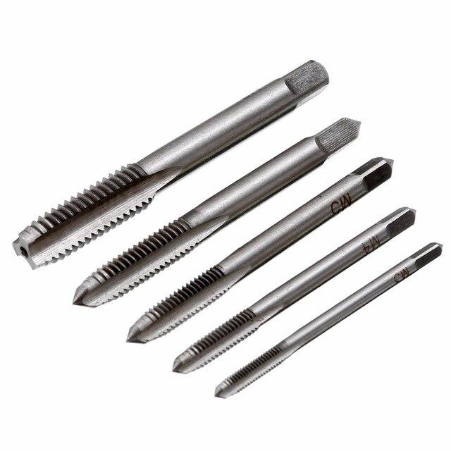 5pcs Mayitr Screw Thread Tap Drill Bit HSS Metric Plug Hand Tapper Set M3/M4/M5/M6/M8 For Machine Tools