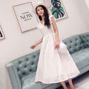 Image 4 - YiLin Kay 2020 High end custom  Heavy industry hollow out water soluble lace dress V NeckEmbroidered white party dresses