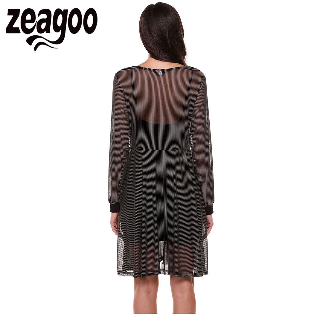 Zeagoo womens short sleeve mesh patchwork see through sexy club black dress