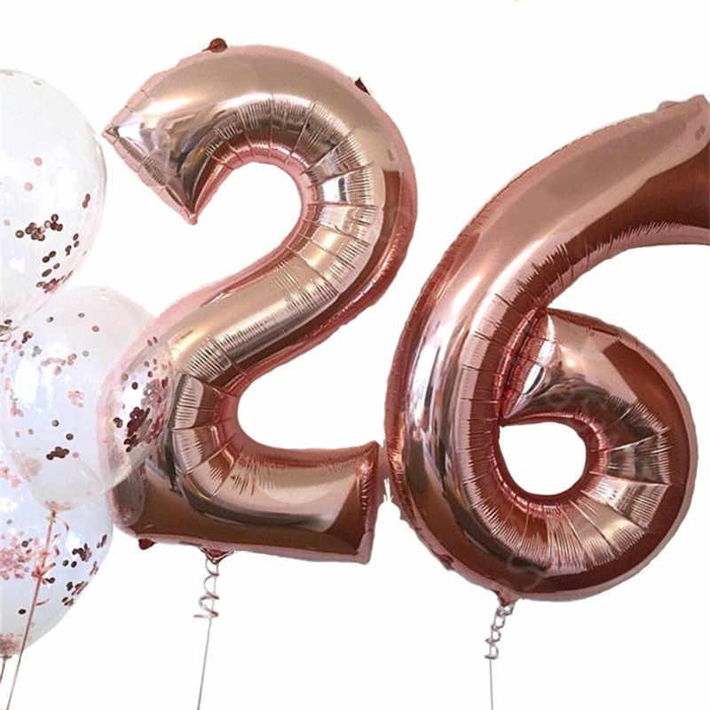 32 дюйма розовое золото шара с цифрой Фольга воздушные шары большие цифры баллон гелия Baby Shower счастливые День рождения воздушных шаров свадьбные Globos