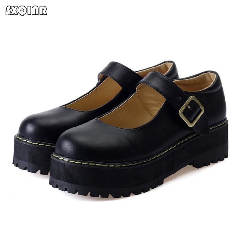 Women Flats shoes Big size 35-42 retro College Wind round buckle thick crust muffin shoes small doll shoes Leather shoes Sweet(China)
