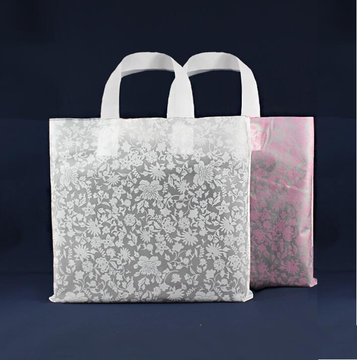 big pink and white Shopping Jewelry Packaging Plastic Gift Bag With Handle plastic jewelry gift pouch