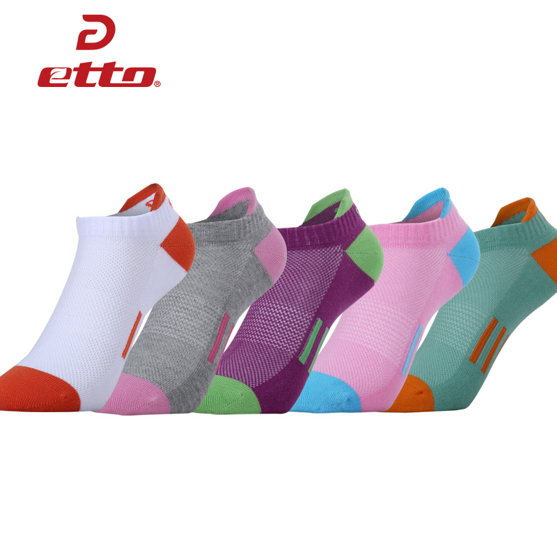 ETTO Quality Women Cotton Running Cycling Sock Slippers Sports Ankle Sox Lady Girl Colorful Athletic No Show Boat Socks HEQ127
