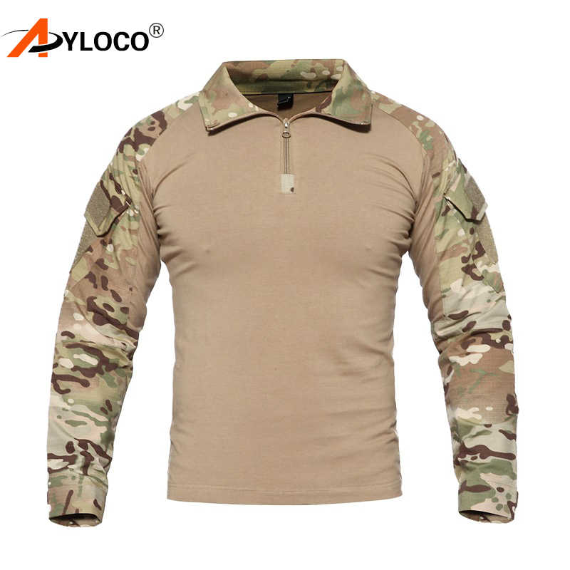 97f4a8e4 US Camouflage Army T-Shirt Men RU Soldiers Combat Tactical T Shirt Military  Force Multicam