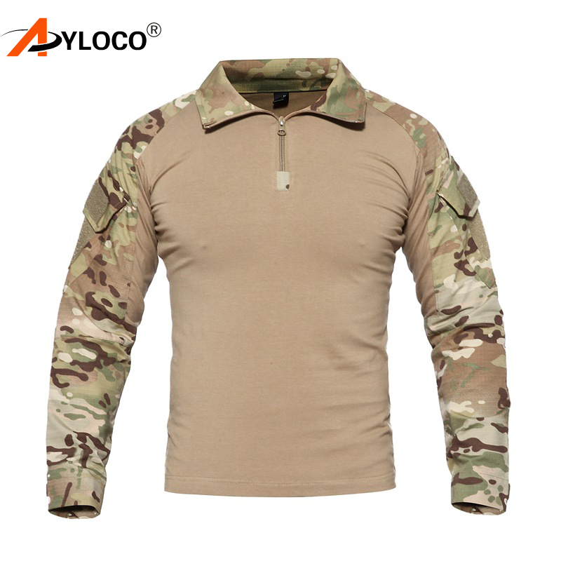 US Camouflage Army   T  -  Shirt   Men RU Soldiers Combat Tactical   T     Shirt   Military Force Multicam Camo Long Sleeve   T     Shirts   4XL