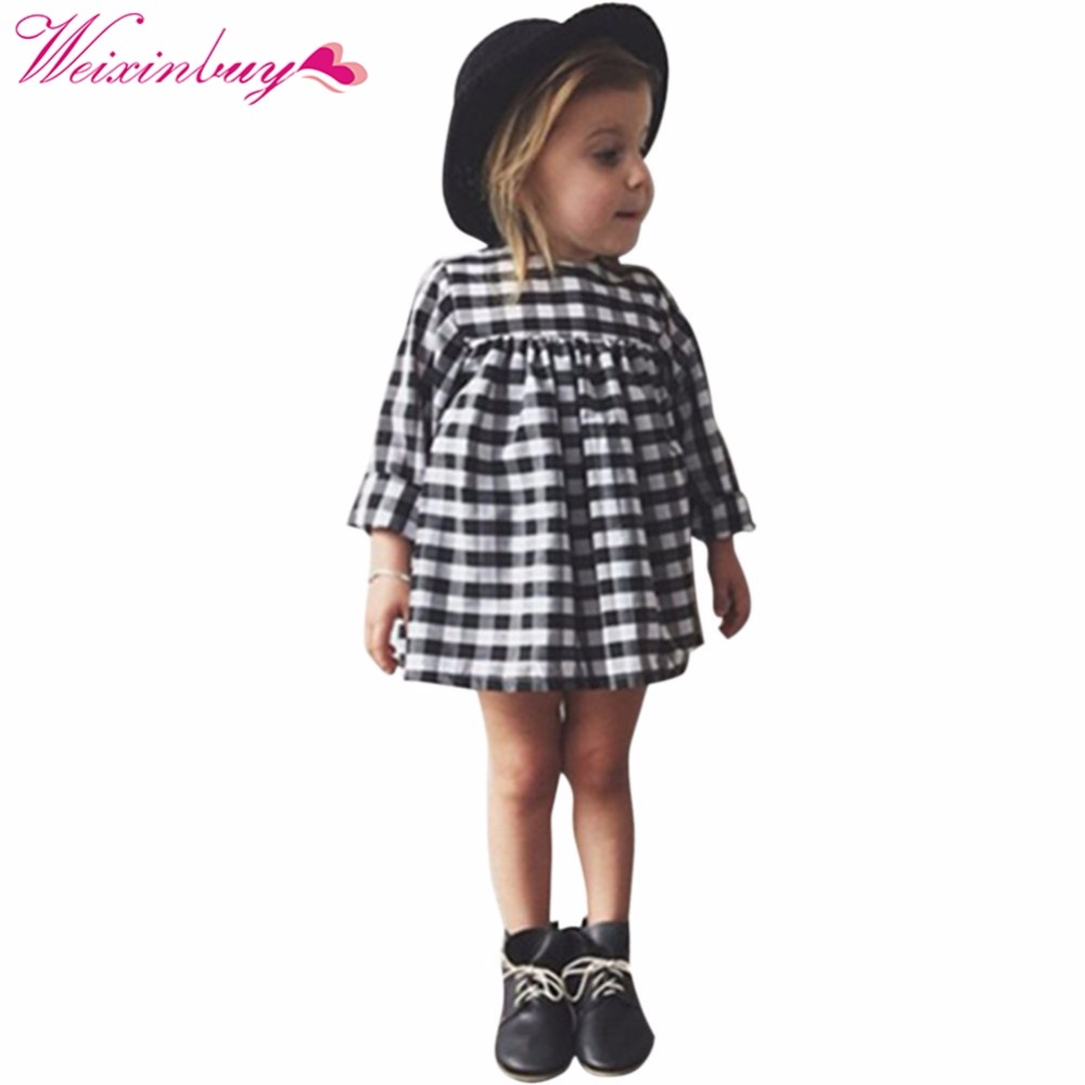 cute baby kid girls casual plaid dress long sleeve