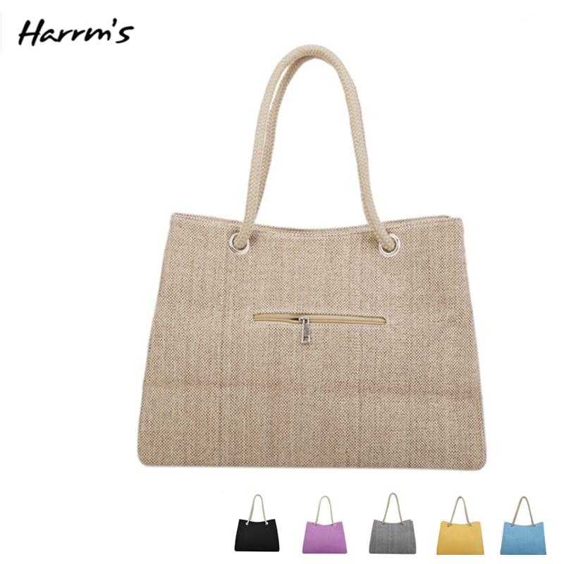 Bohemian Style Straw Bags Linen Material Simple No Decorative 8 Color Woven Bag Popular Large Capacity Messenger Bag Handbags
